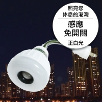 25LED感應燈泡(插頭彎管型)(正白光)
