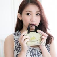 Mi-Mi-Leo 公事包造型零錢包-毛感珍珠雨-綠