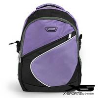後背包 可放13吋筆電 曲線拼色後背包包 X-SPORTS 紫(CG20512-3Q)
