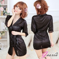 【Gaoria】熱戀情愫 誘惑睡衣睡裙 外罩衫 睡袍 黑色(N3-0017)