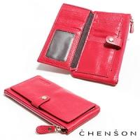 真皮 錢包 可放手機 獨立零錢拉鍊 翻蓋兩折真皮長夾 CHENSON 酒紅(W08110-F)