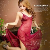 【JWEI】柔滑誘惑.蕾絲柔緞睡衣(紅)(1C-19160490)