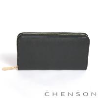 CHENSON 小牛皮4夾層拉鍊長夾 黑(W00528-3)