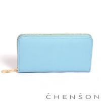 CHENSON 小牛皮4夾層拉鍊長夾 淺藍(W00528-7)