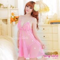 【Sexy Girls】情趣睡衣 透視吊帶小花二件式睡衣(CY-1600A306-P3)
