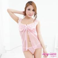 【Sexy Girls】情趣睡衣 蕾絲深V透視二件式睡衣(CY-16000X02)