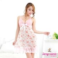 【Sexy Girls】情趣睡衣 田園蕾絲吊帶性感二件式睡衣(CY-16000X03)