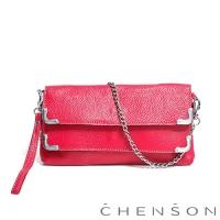 CHENSON真皮 愛拍照女生必備 雙層主袋隨身包 水蜜桃紅(LAL123007-F)