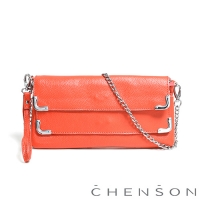 CHENSON真皮 愛拍照女生必備 雙層主袋隨身包 葡萄柚粉橘(LAL123007-P)