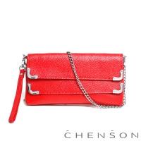 CHENSON真皮 愛拍照女生必備 雙層主袋隨身包 蕃茄紅(LAL123007-R)