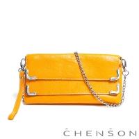CHENSON真皮 愛拍照女生必備 雙層主袋隨身包 檸檬黃(W00921-L)