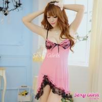 【Sexy Girls】情趣睡衣 西瓜紅深V吊帶二件式睡衣(CM-16007744)
