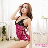 【Sexy Girls】情趣睡衣 桃色豹紋雙肩超短二件式睡衣(CM-16005593)