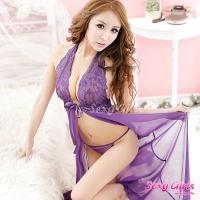 【Sexy Girls】情趣睡衣 深V綁帶透視長睡裙二件式睡衣(CM-16005558)