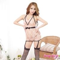 【Sexy Girls】性感睡衣 透視吊帶裙馬甲三件組 贈黑網襪一雙(CM-16005532)