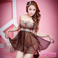 【Sexy Girls】情趣睡衣 性感黑咖啡透視二件式睡衣(CF-16007134)