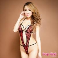 【Sexy Girls】情趣睡衣 性感紅豹紋連身衣(CF-16007210)
