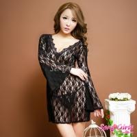 【Sexy Girls】情趣睡衣 性感蕾絲長袖透視二件式睡衣(CF-16007174-B)