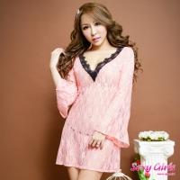 【Sexy Girls】情趣睡衣 性感蕾絲長袖透視二件式睡衣(CF-16007174-P)