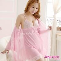 【Sexy Girls】情趣睡衣 性感吊帶睡裙透視內衣三件式睡衣(CE-16008870-P)