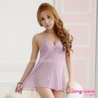 【Sexy Girls】情趣睡衣 性感吊帶深V透視睡裙二件式睡衣(CE-16008986-P1)