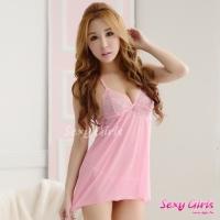 【Sexy Girls】情趣睡衣 性感吊帶深V透視睡裙二件式睡衣(CE-16008986-P)