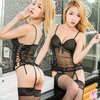 【AYOKA】情趣睡衣 魅黑蕾絲網紗馬甲四件組(NA10030029)