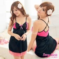 【Sexy Girls】情趣睡衣 性感嫩桃襯胸吊帶二件式睡衣(CA-17008028)