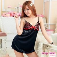 【Sexy Girls】情趣睡衣 性感魅黑襯紅吊帶二件式睡衣(CA-17008044)