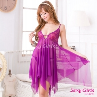【Sexy Girls】情趣睡衣 性感深V露背紫二件式睡衣(CA-17008104-P1)