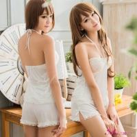 【Anna Mu】純白柔緞蕾絲綁脖式二件式睡衣(NA09020142)
