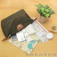 CHENSON 質感化妝收納包 軟式款 墨綠(CG20753-A)