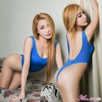 【Anna Mu】藍色高衩死庫水露背連身衣(NA16030052-2)