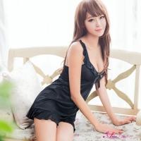 【Anna Mu】優雅黑色柔緞荷葉滾邊睡衣(NA11020155-1)