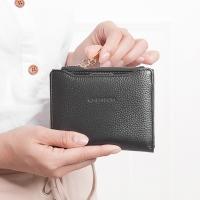 CHENSON 真皮 可抽式卡包 獨立式零錢袋短夾 黑(W01178-3)