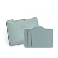 CHENSON 真皮 可抽式卡包 獨立式零錢袋短夾 天藍(W01178-7)