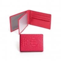 CHENSON 真皮專業形象 薄型駕照夾/名片夾 粉(W00009-F)