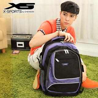 X-SPORTS 街頭潮流‧立方塊積木拼色運動後背包/紫色(CG20510-3Q)