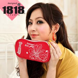 【1818】青春進行式.[花PRINT]雙層彩妝包/渡假紅(CG20848-R)