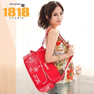 【1818】青春進行式.[花PRINT]斜肩包/渡假紅(CG20843-R)