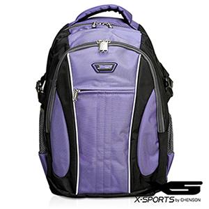 後背包 可放13吋筆電 垂直線條拼色後背包包 X-SPORTS 紫(CG20508-3Q)