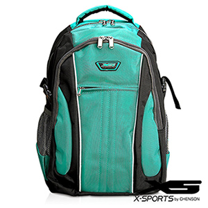 後背包 可放13吋筆電 垂直線條拼色後背包包 X-SPORTS 綠(CG20508-35)