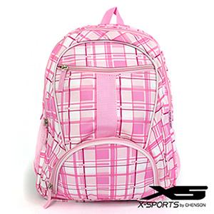 後背包 韓版學院風 個性表情格子情侶休閒書包 X-SPORTS 粉紅(CG20448-P)