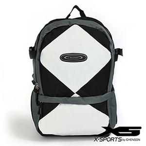 後背包 多口袋設計 大格紋撞色休閒書包 X-SPORTS 黑(CG20498-32)
