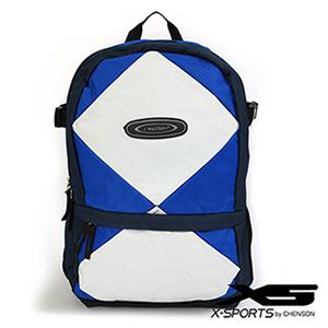 後背包 多口袋設計 大格紋撞色休閒書包 X-SPORTS 藍(CG20498-96)