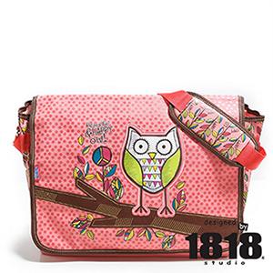 1818 貓頭鷹花園學生斜背包 粉色 咖啡(CO59563-P)