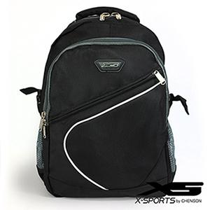 後背包 可放13吋筆電 曲線拼色後背包包 X-SPORTS 黑(CG20512-3)