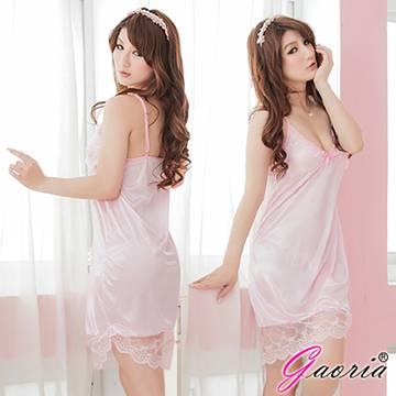 【Gaoria】魅惑無限 性感露乳絲綢情趣睡衣睡裙 粉(N3-0071)