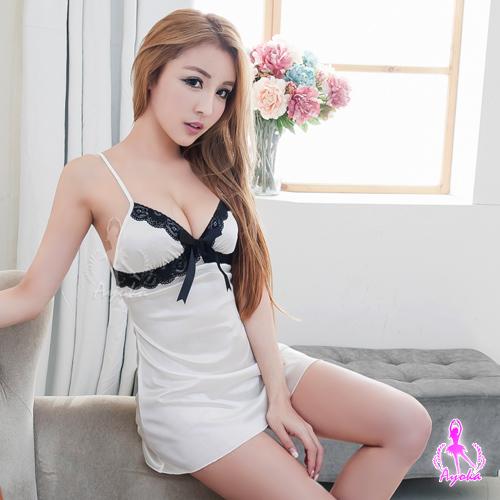 【AYOKA】蕾絲蝴蝶結奶白柔緞睡衣(NA11020178)