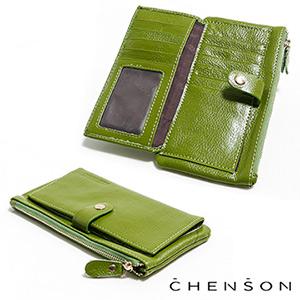 真皮 錢包 可放手機 獨立零錢拉鍊 翻蓋兩折真皮長夾 CHENSON 綠(W08110-G)
